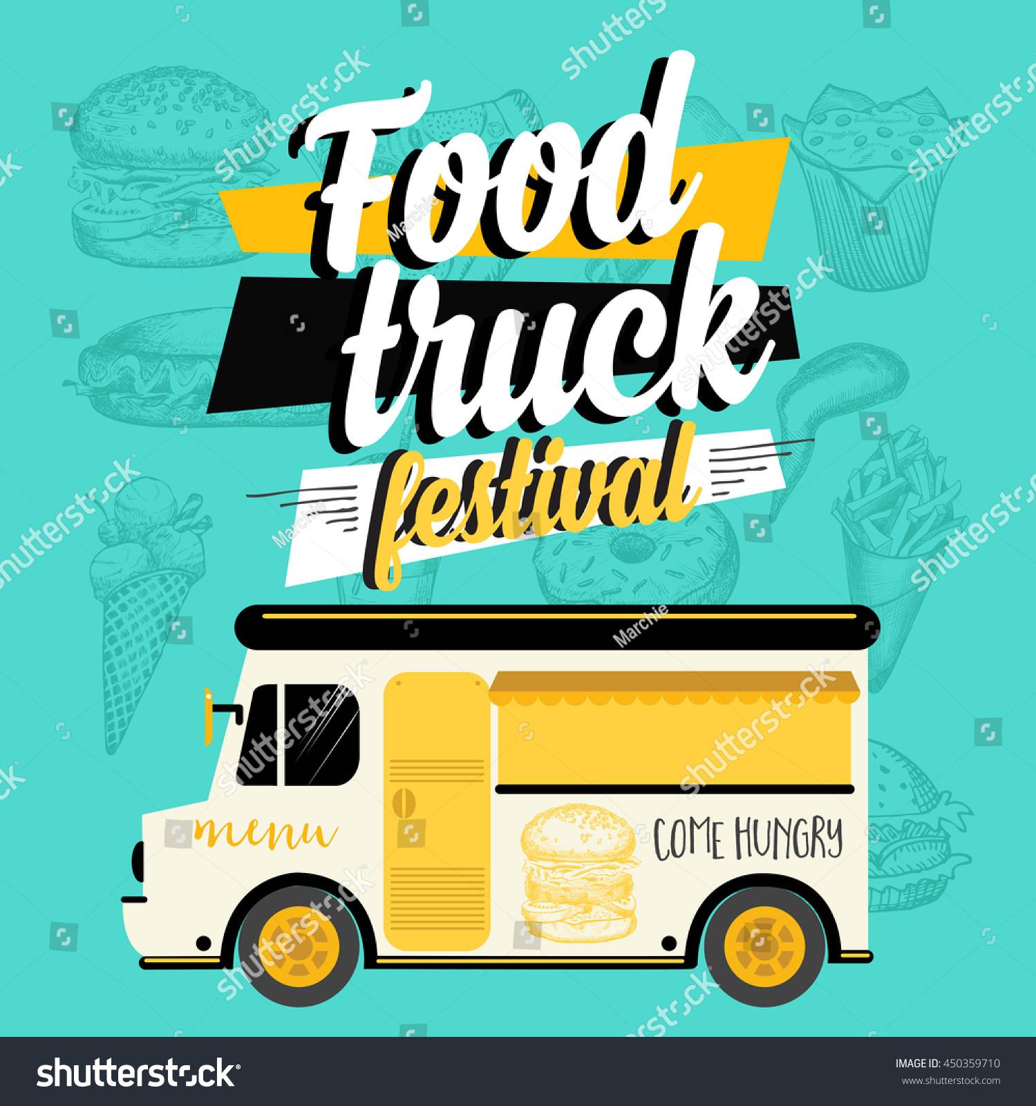 Food truck festival menu brochure street food template for Food truck menu design