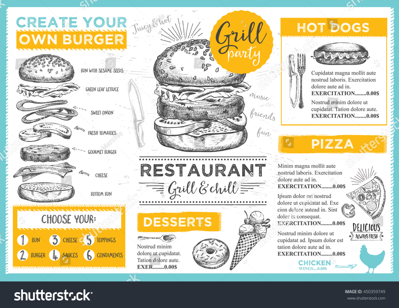 restaurant brochure template - menu placemat food restaurant brochure menu stock vector