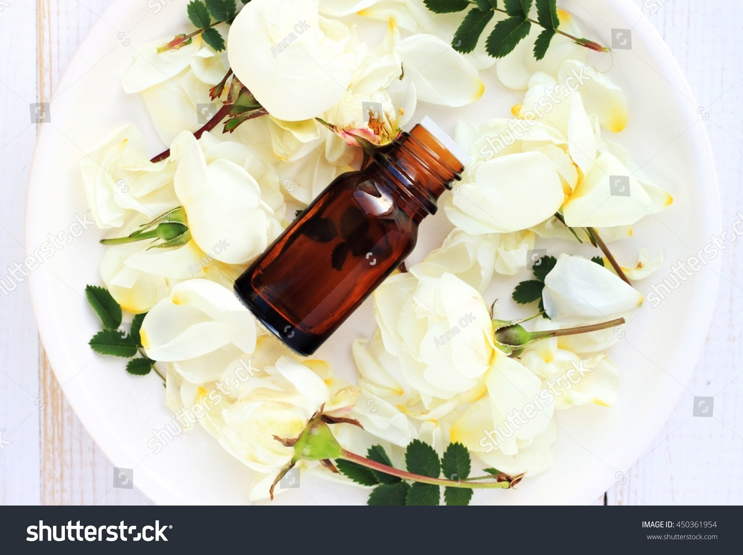 Bottle essential oil on plate white stock photo edit now 450361954 bottle of essential oil on plate with white rose flower petals top view mightylinksfo