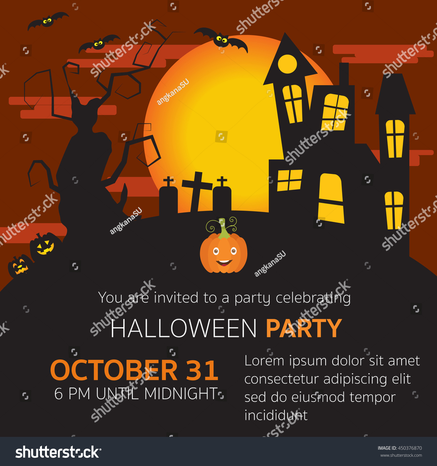 Halloween Party Invitation Horror Housegrave Yardpumpkinsold – Scary or Horror Invitation Cards