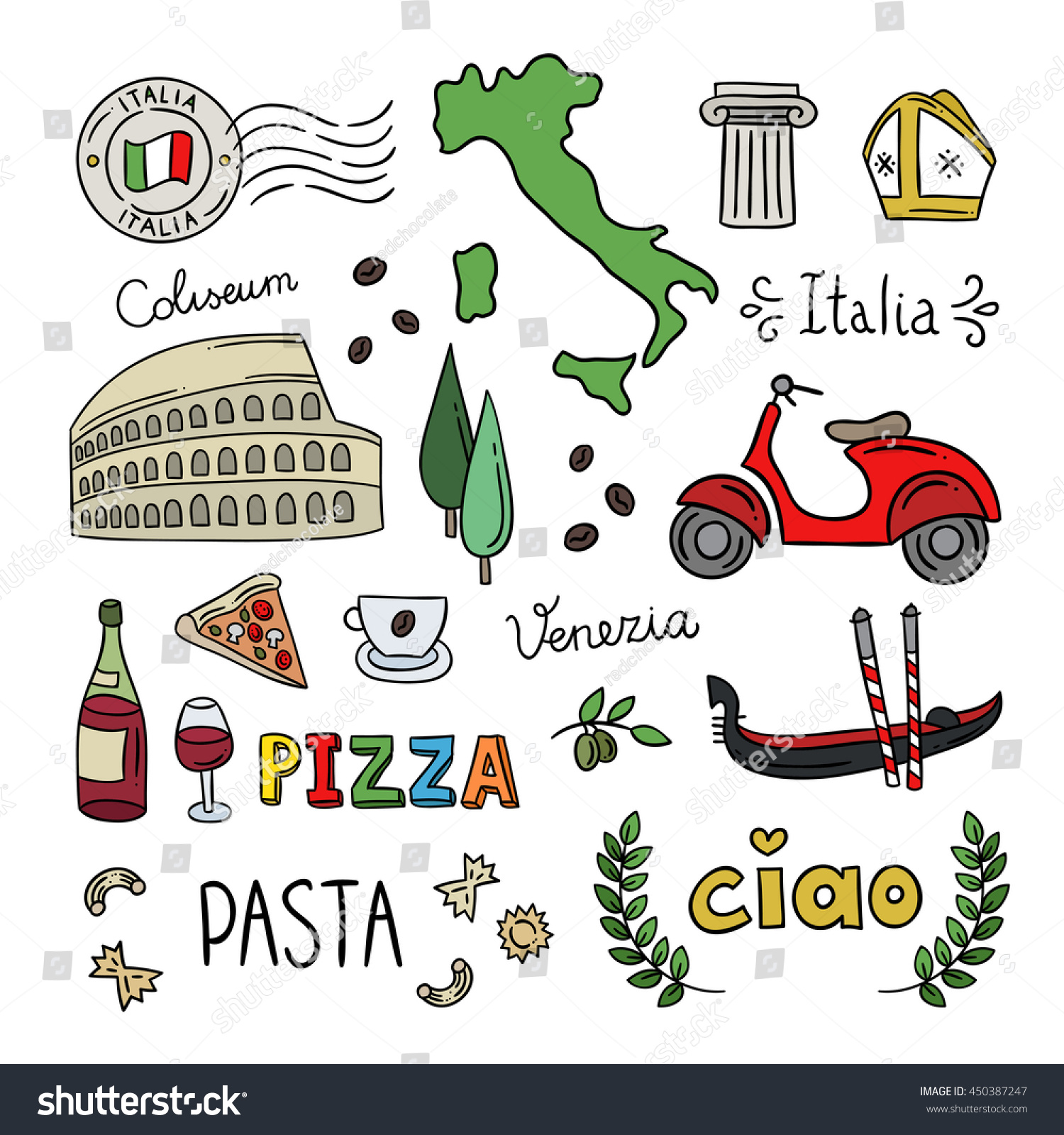 Italy Doodle Symbols Hand Drawn Icons Stock Vector Royalty Free