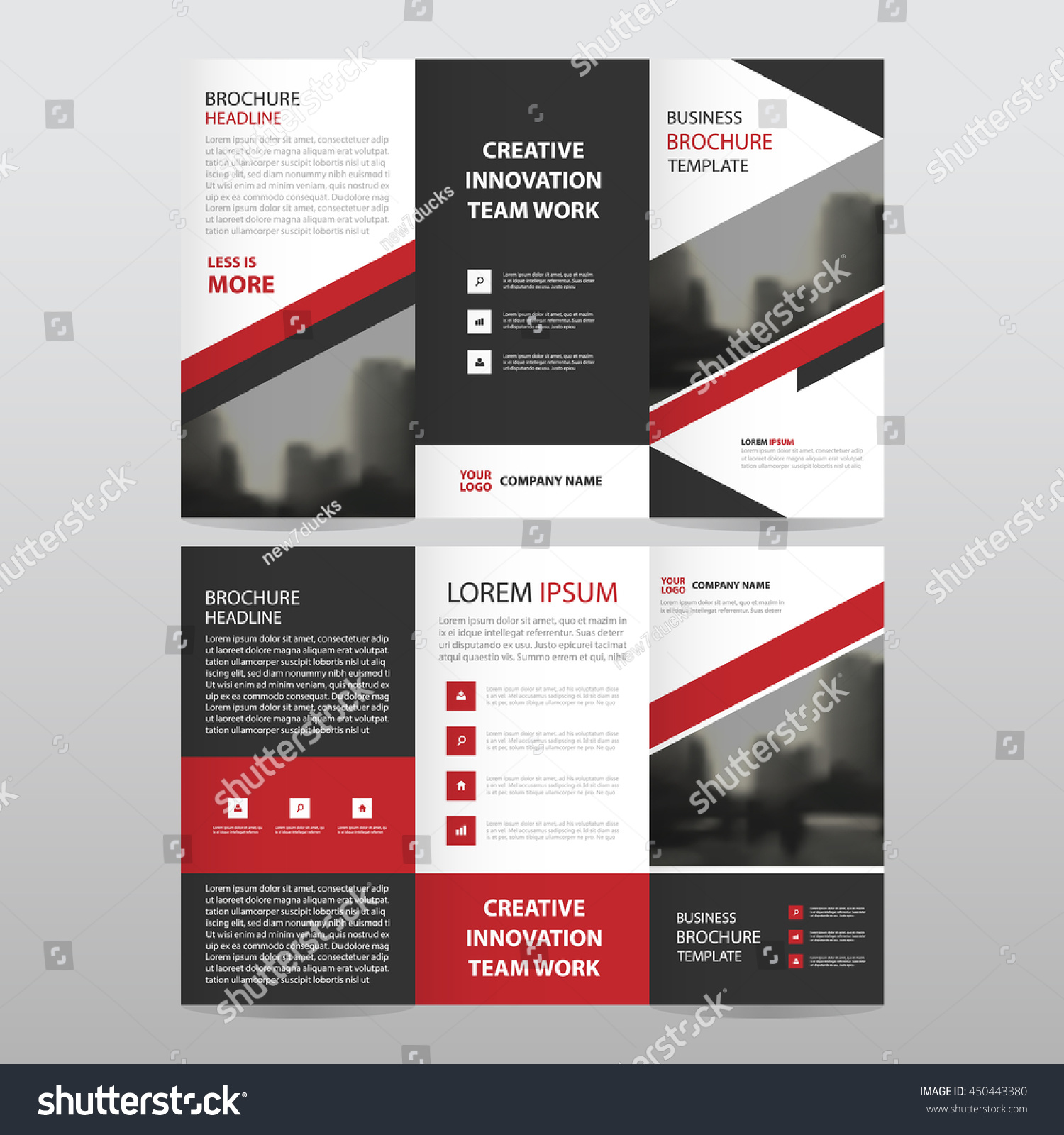 red brochure template - red black triangle business trifold leaflet stock vector