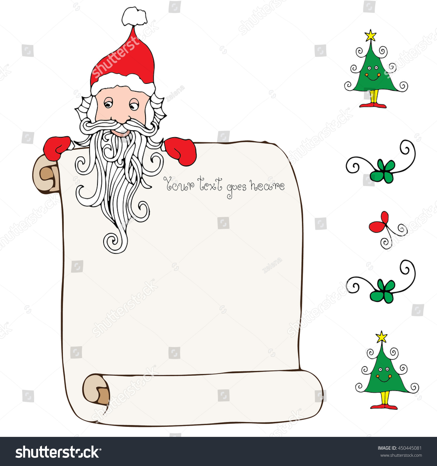 Dear Santa Template Letter Santa Stock Vector