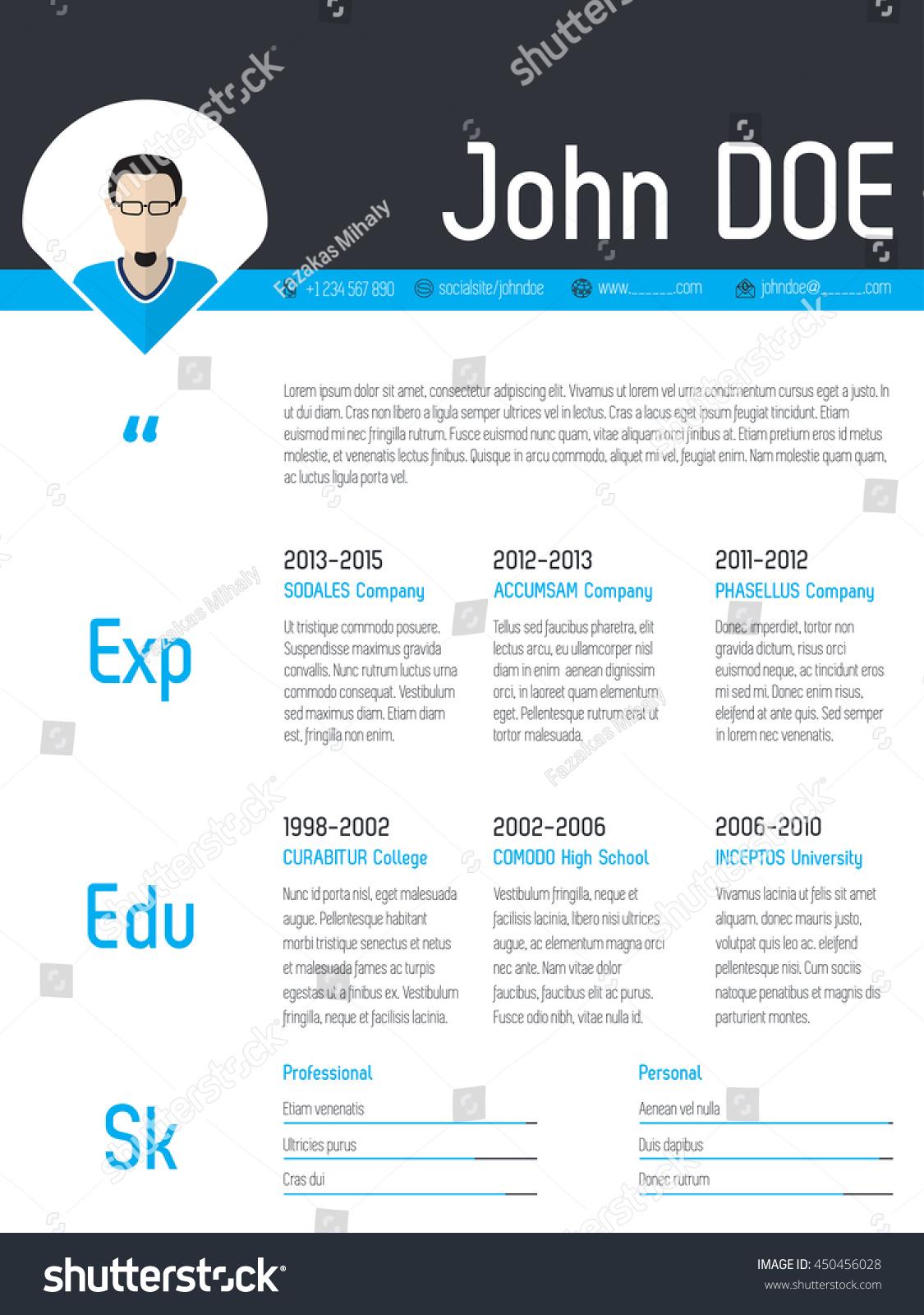 modern resume cv curriculum vitae template stock vector royalty