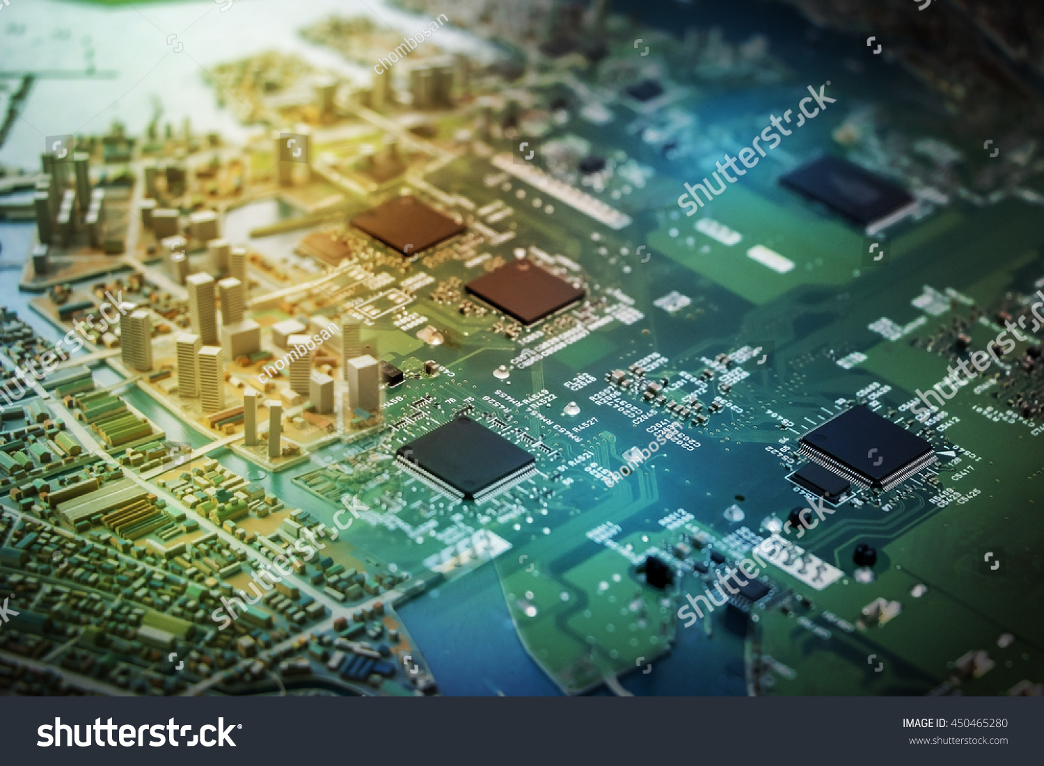 Modern City Diorama Electric Circuit Board Stock Photo Edit Now And Digital Transformation Abstract Image Visual