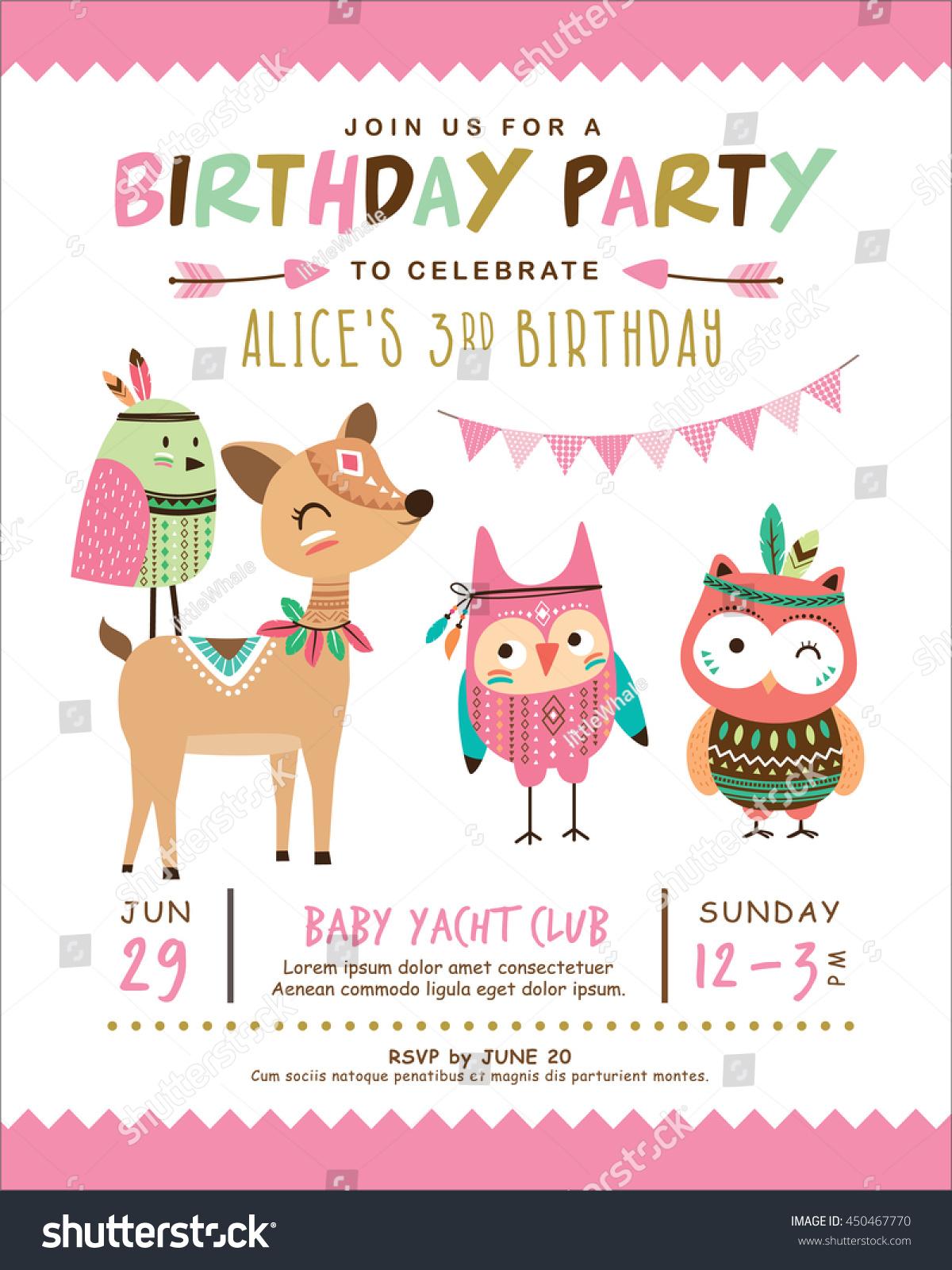 Kids Birthday Invitation Card Cute Cartoon Stock Vector 450467770 ...