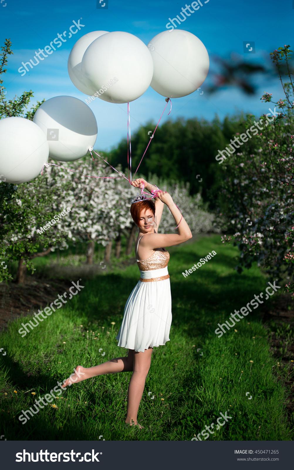 Beautiful Fun Fall Wedding Inspiration: Beautiful Fun Woman Holding White… Stock Photo 450471265