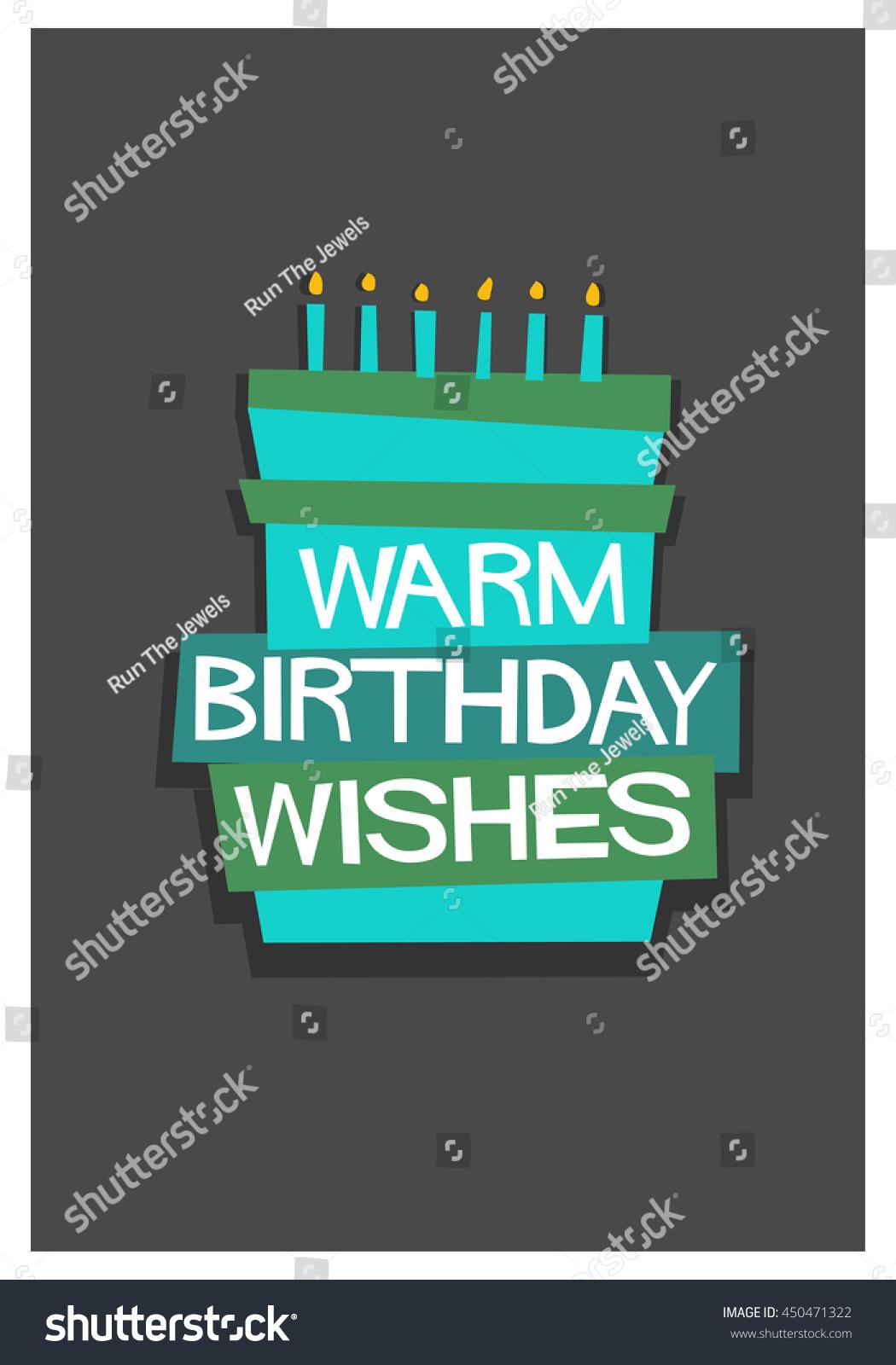 Warm Birthday Wishes Written On Cake Stock Vector 450471322