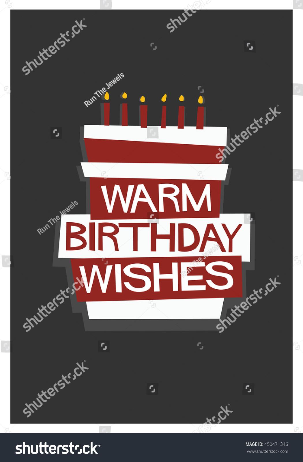 Warm Birthday Wishes Written On Cake Stock Vector 450471346