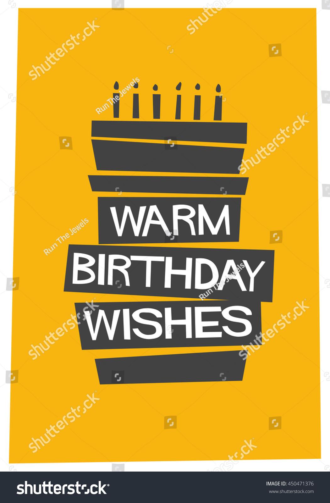 Warm Birthday Wishes Written On Cake Stock Vector 2018 450471376