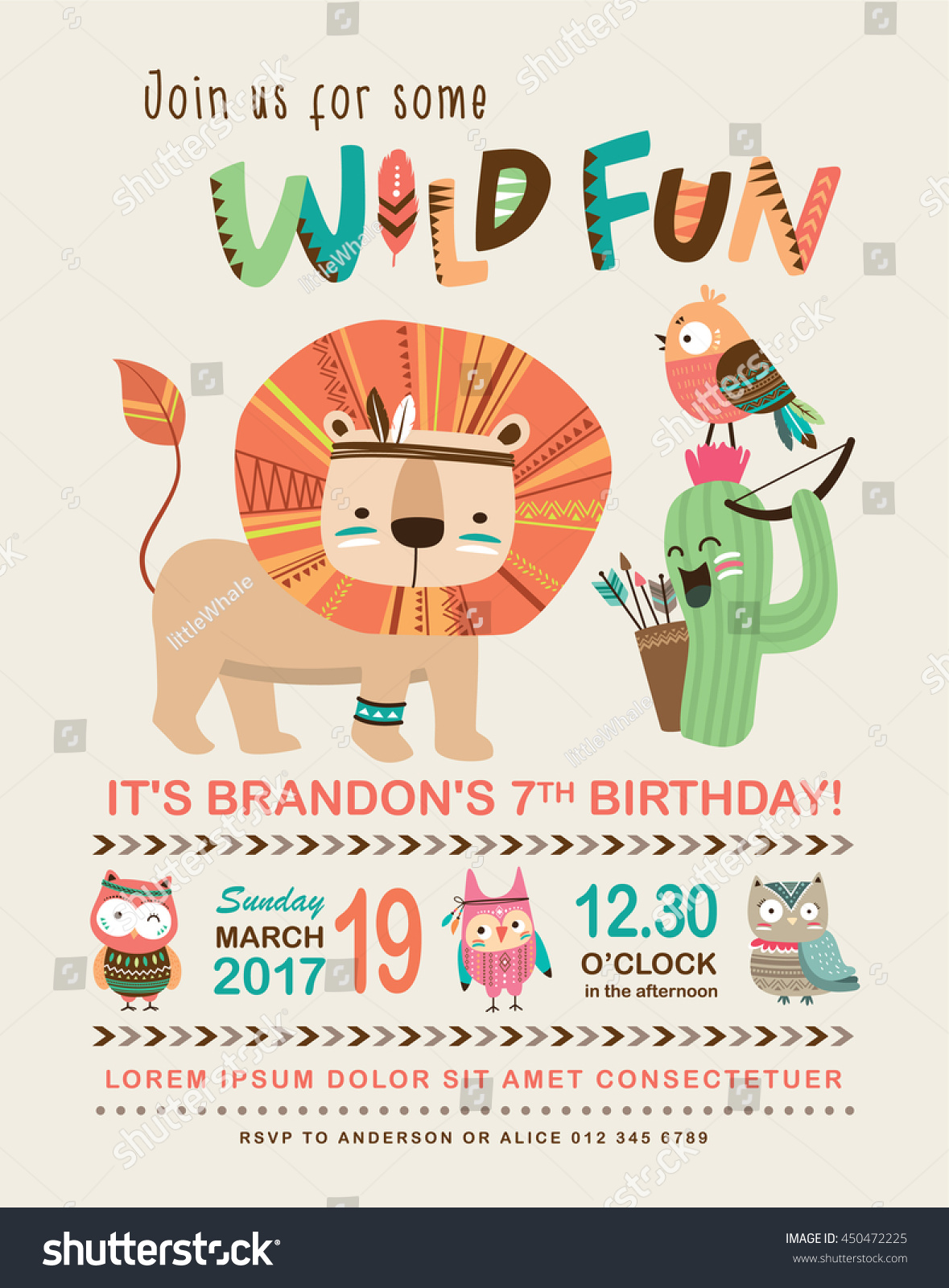 Kids Birthday Invitation Card Cute Cartoon Stock Vector 450472225 ...