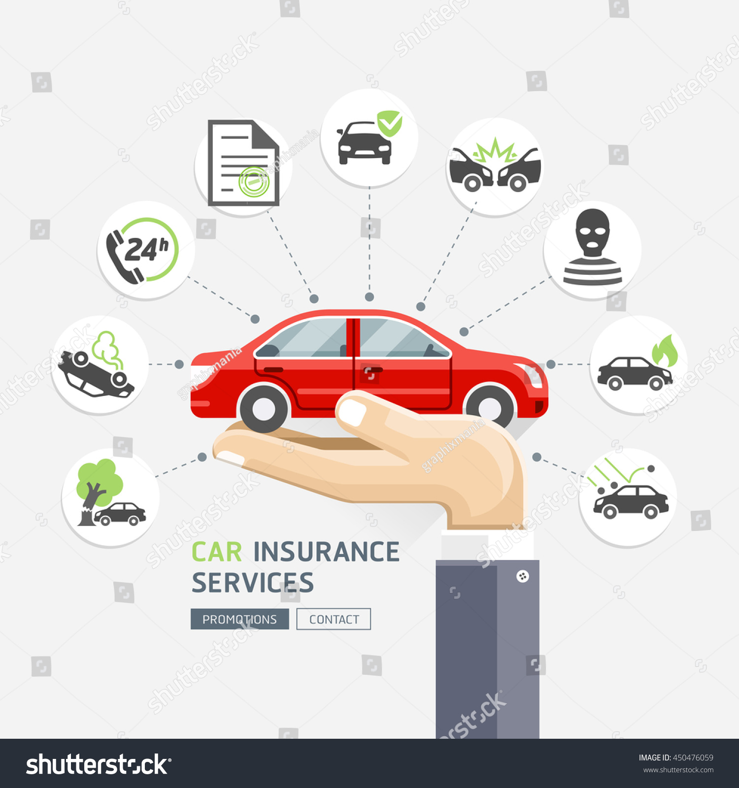 Auto Insurance: Car Insurance Services Business Hands Holding Stock Vector