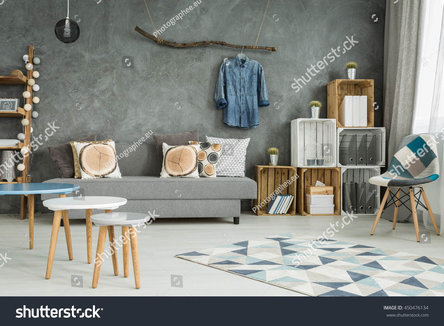 Grey Living Room In New Style With DIY Furniture, Chair, Pattern Carpet,  Sofa