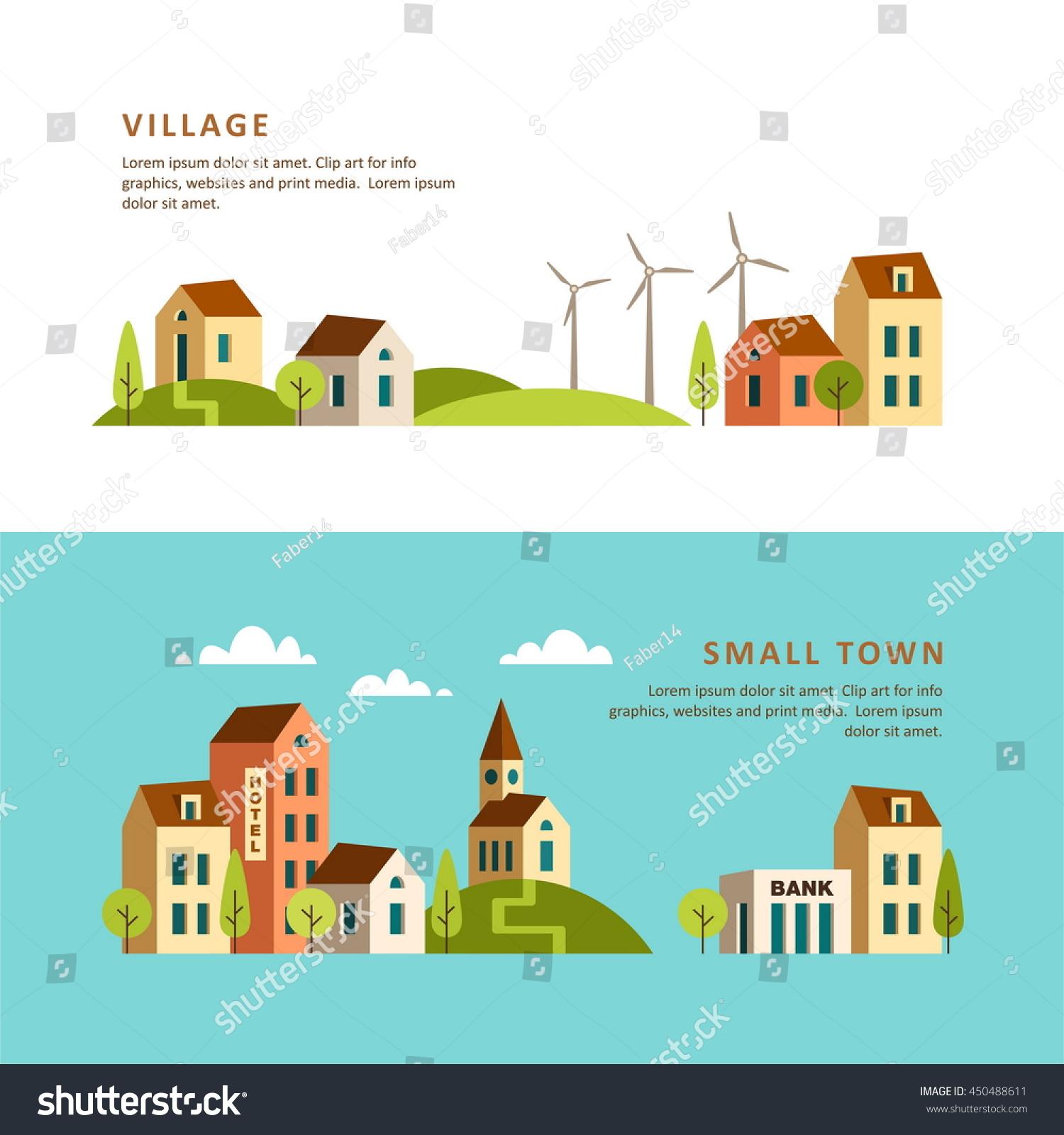 Town Landscape Vector Illustration: Village Small Town Rural Urban Landscape Stock Vector