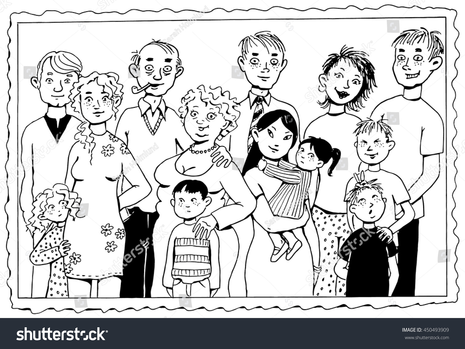 A Black And White Vector Illustration Of Family Portrait Painting