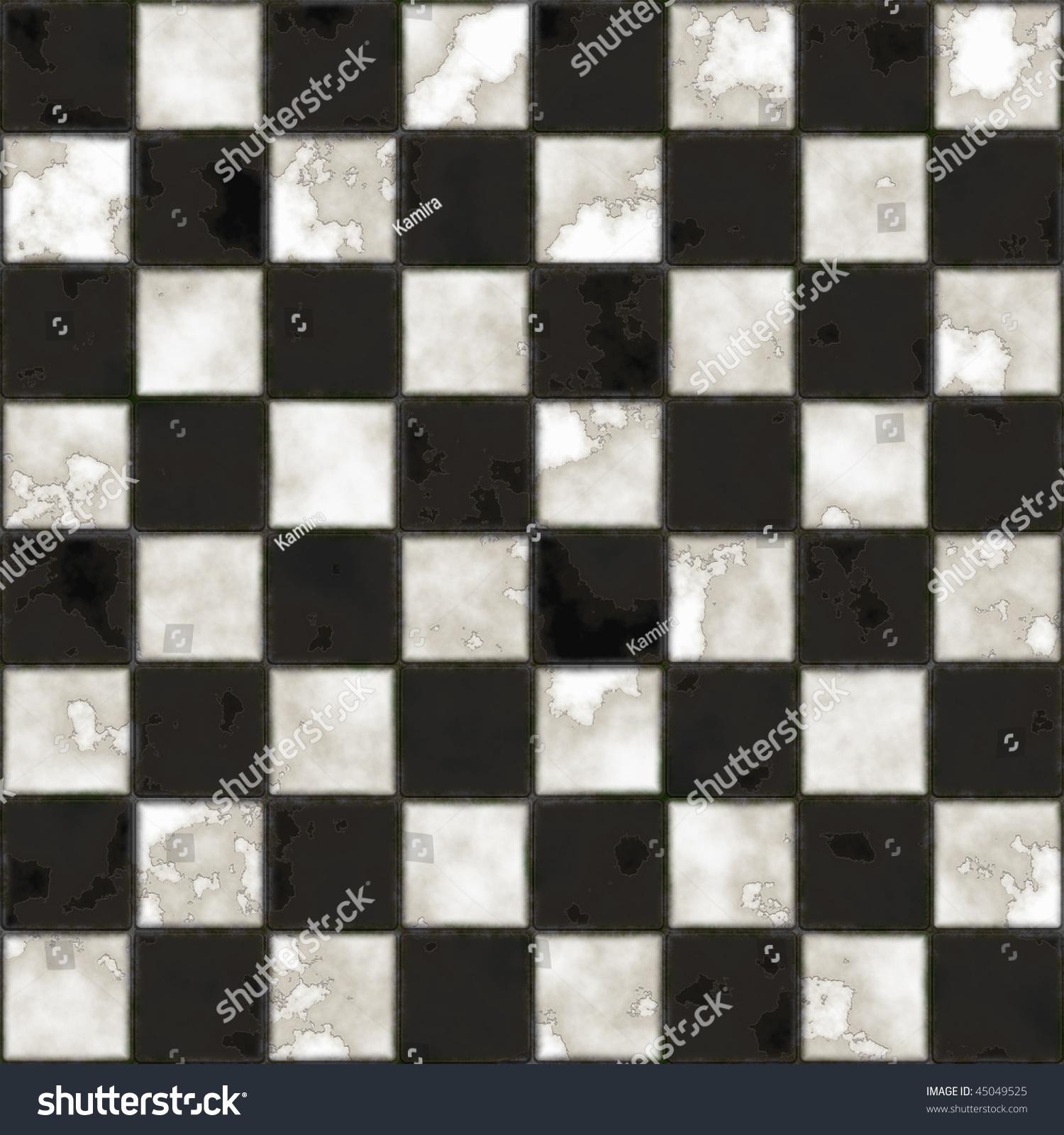 Seamless Black White Checkered Tiles Texture Stock Illustration