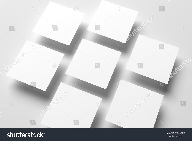 3d Illustration Blank Square Flyers Mockup Stock Illustration ...