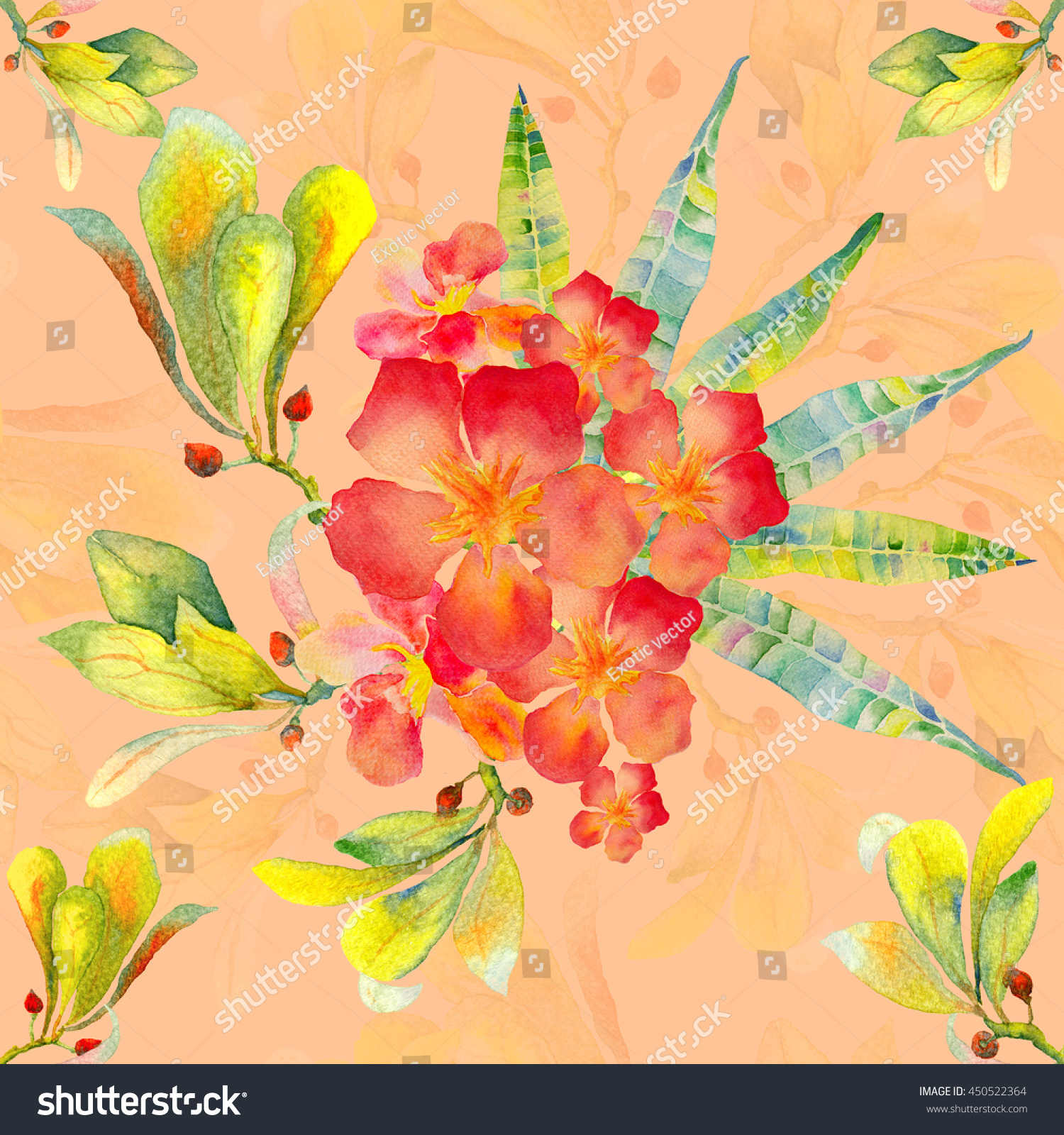 Tropical Flowers Pattern Hawaiian Tropical Flowers Stock