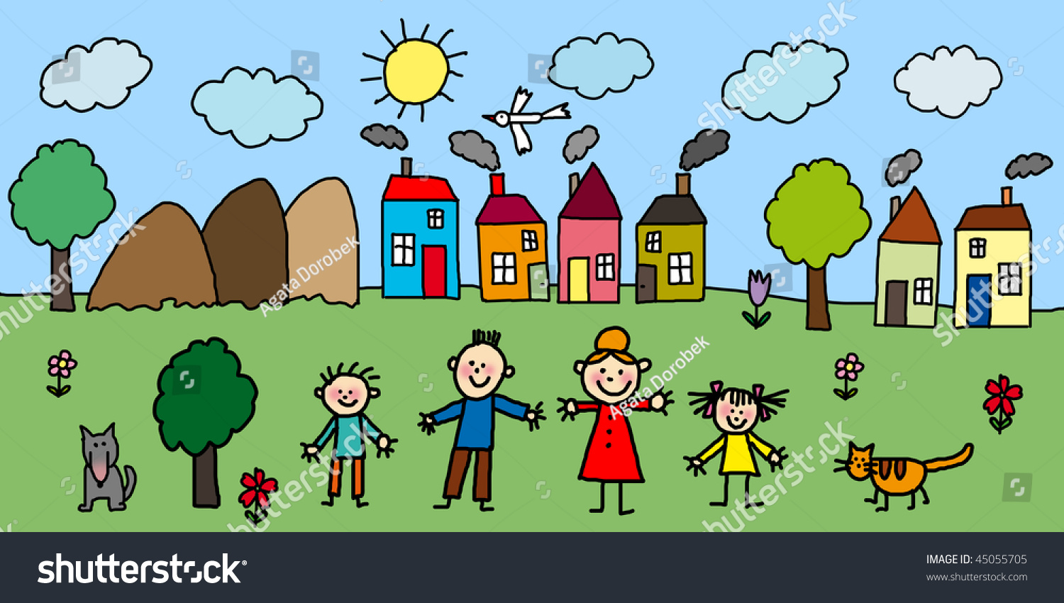 Family City Ecology Draw Kids Style Stock Illustration 45055705 ...