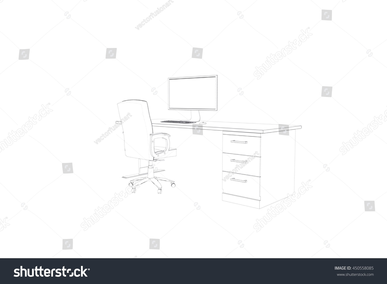 Draw Desk Computer Chair Stock Illustration 450558085 Shutterstock
