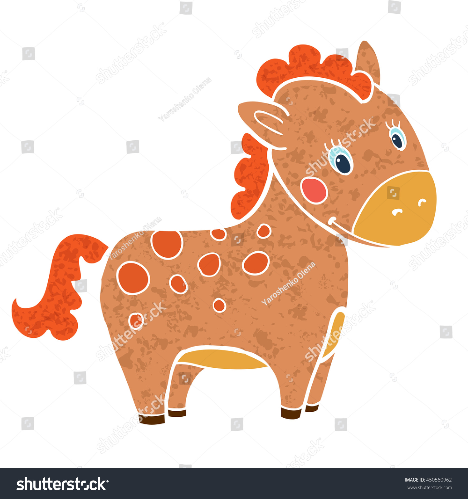 baby horse cartoon smile isolated simple stock vector 450560962