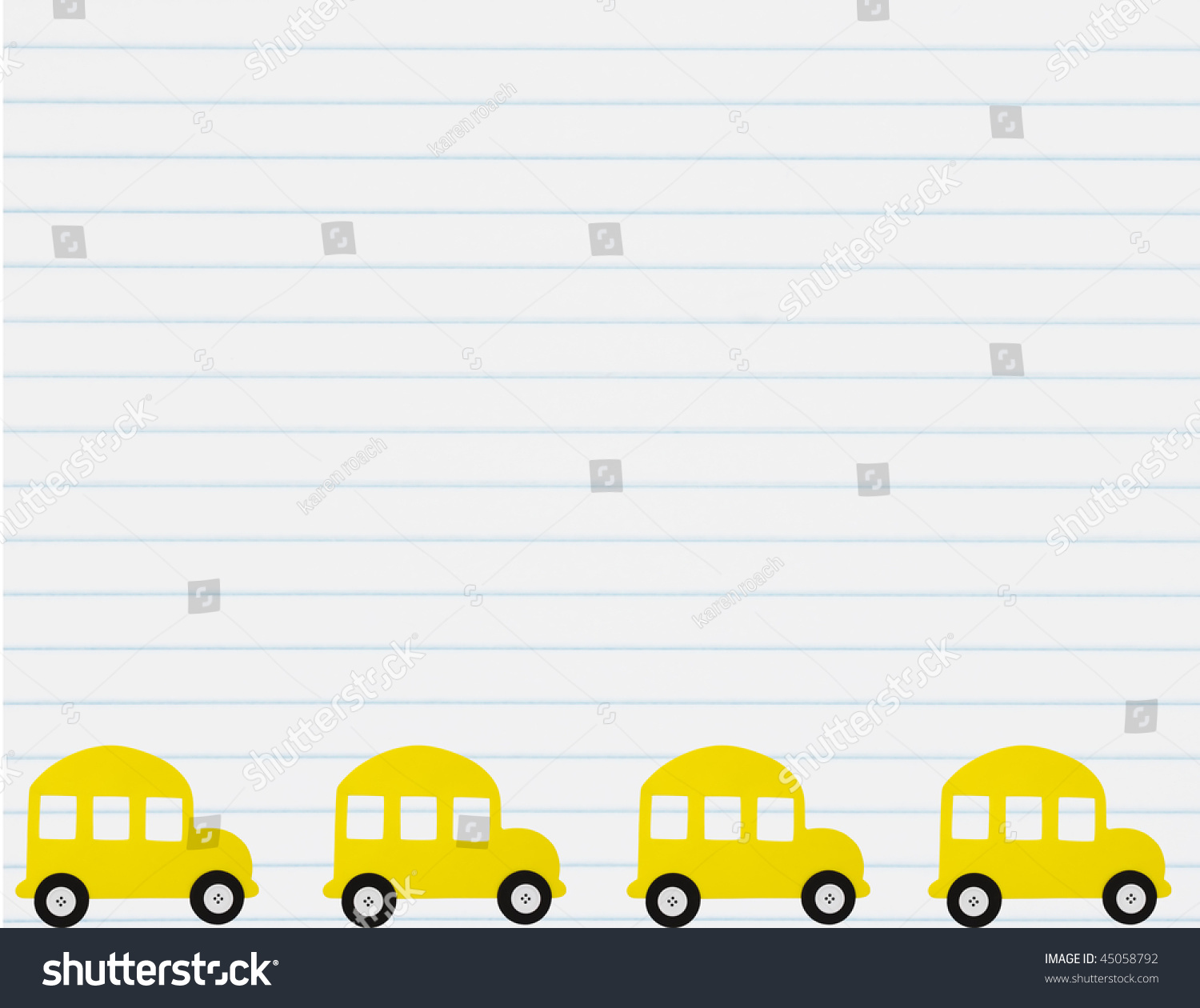 School Bus Border With A Lined Paper Background, School Bus Stock