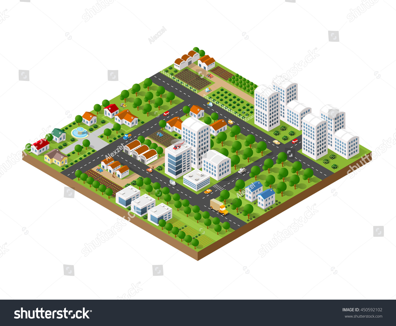 3d isometric city landscape skyscrapers houses stock