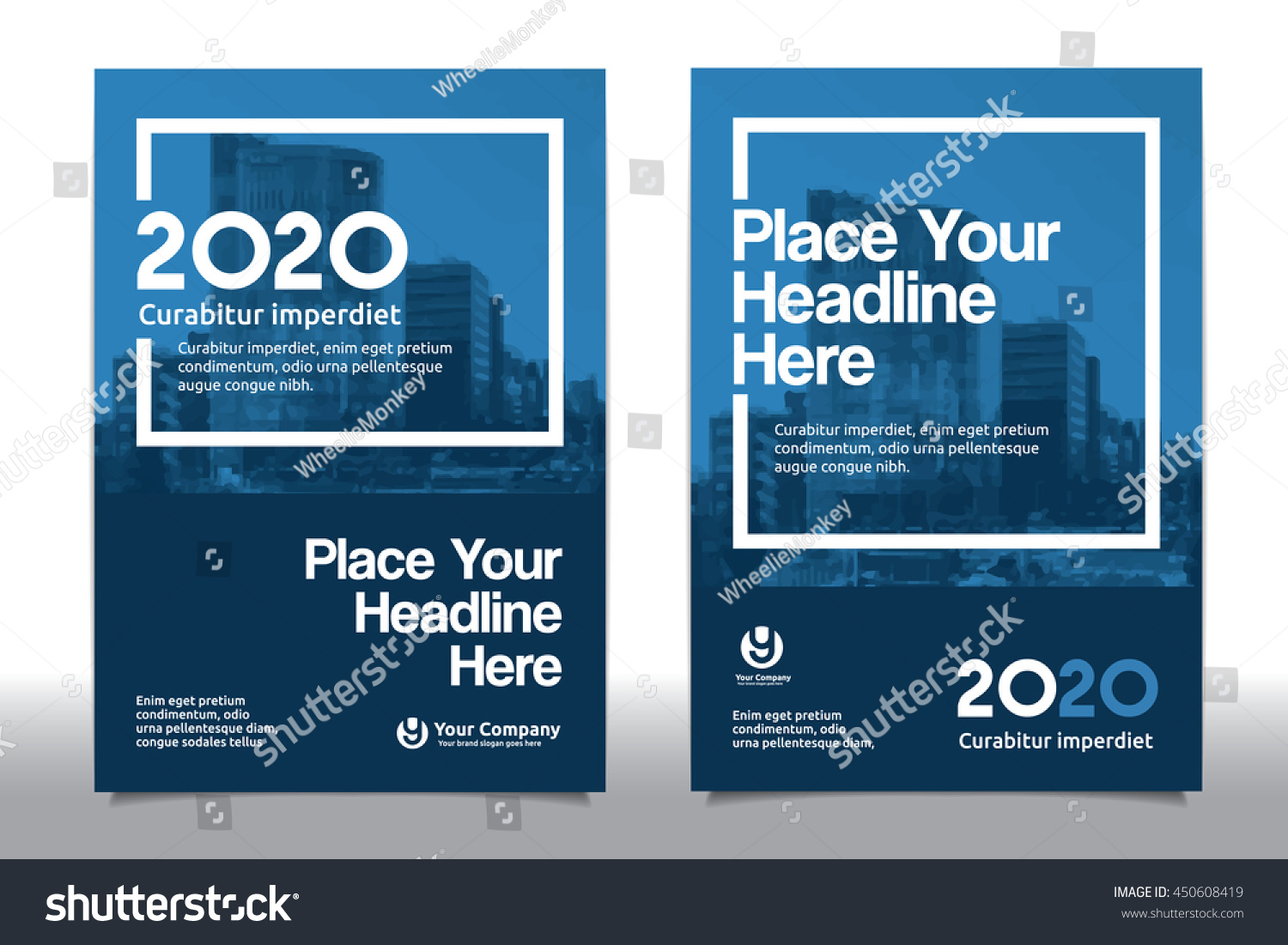 Book color scheme - Blue Color Scheme With City Background Business Book Cover Design Template In A4 Easy To