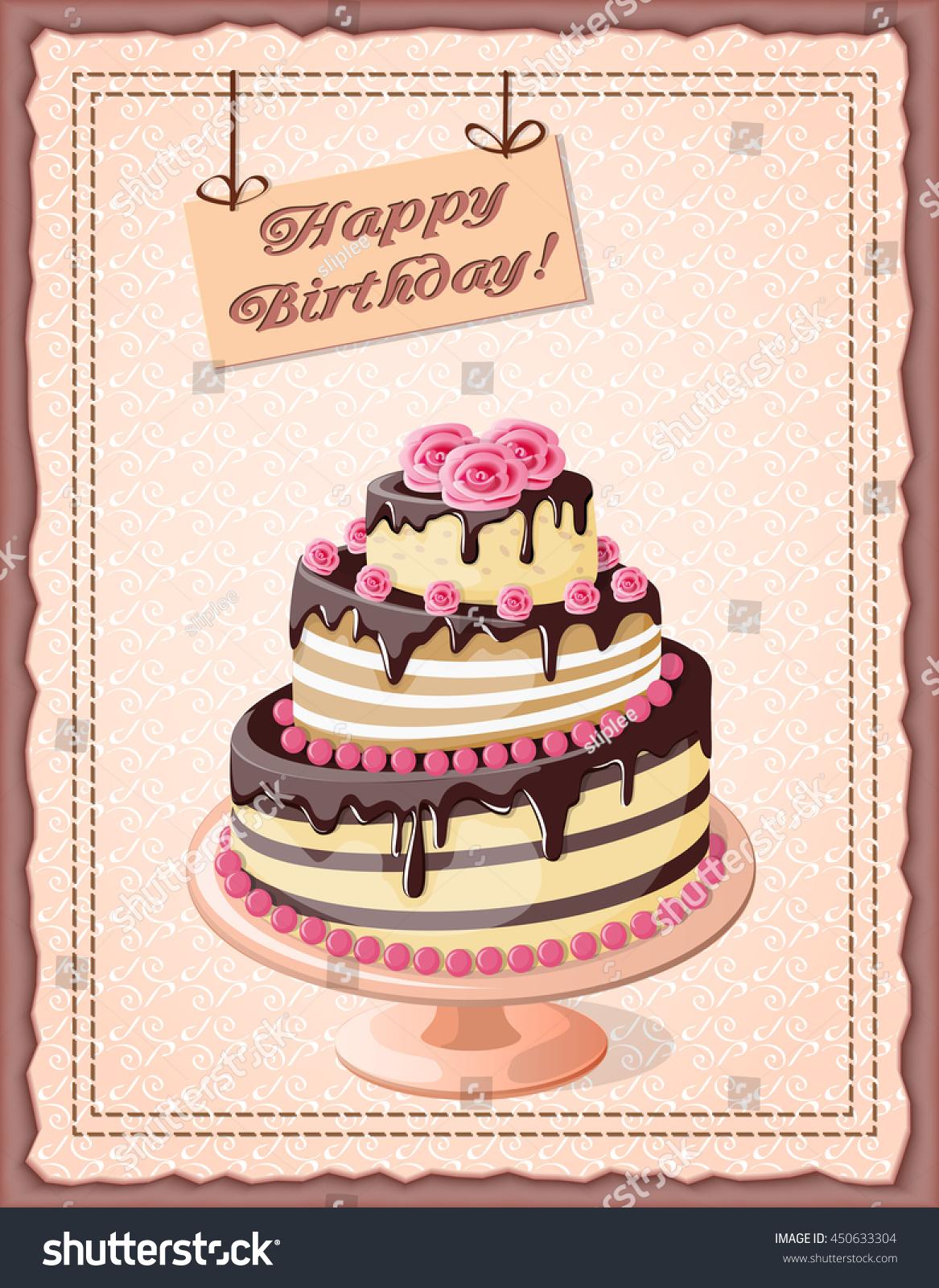 Festive Colorful Birthday Card On Craft Stock Vector 450633304