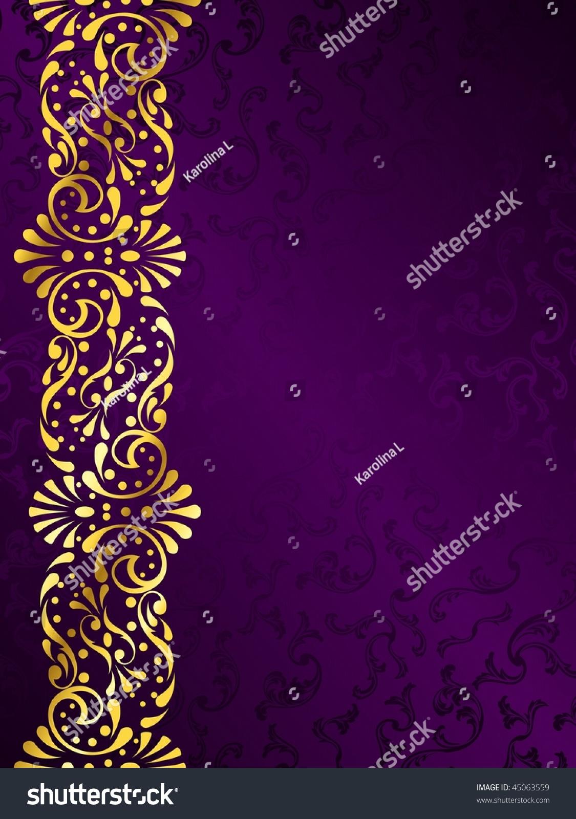 Purple Background Gold Filigree Margin Jpg Stock ...