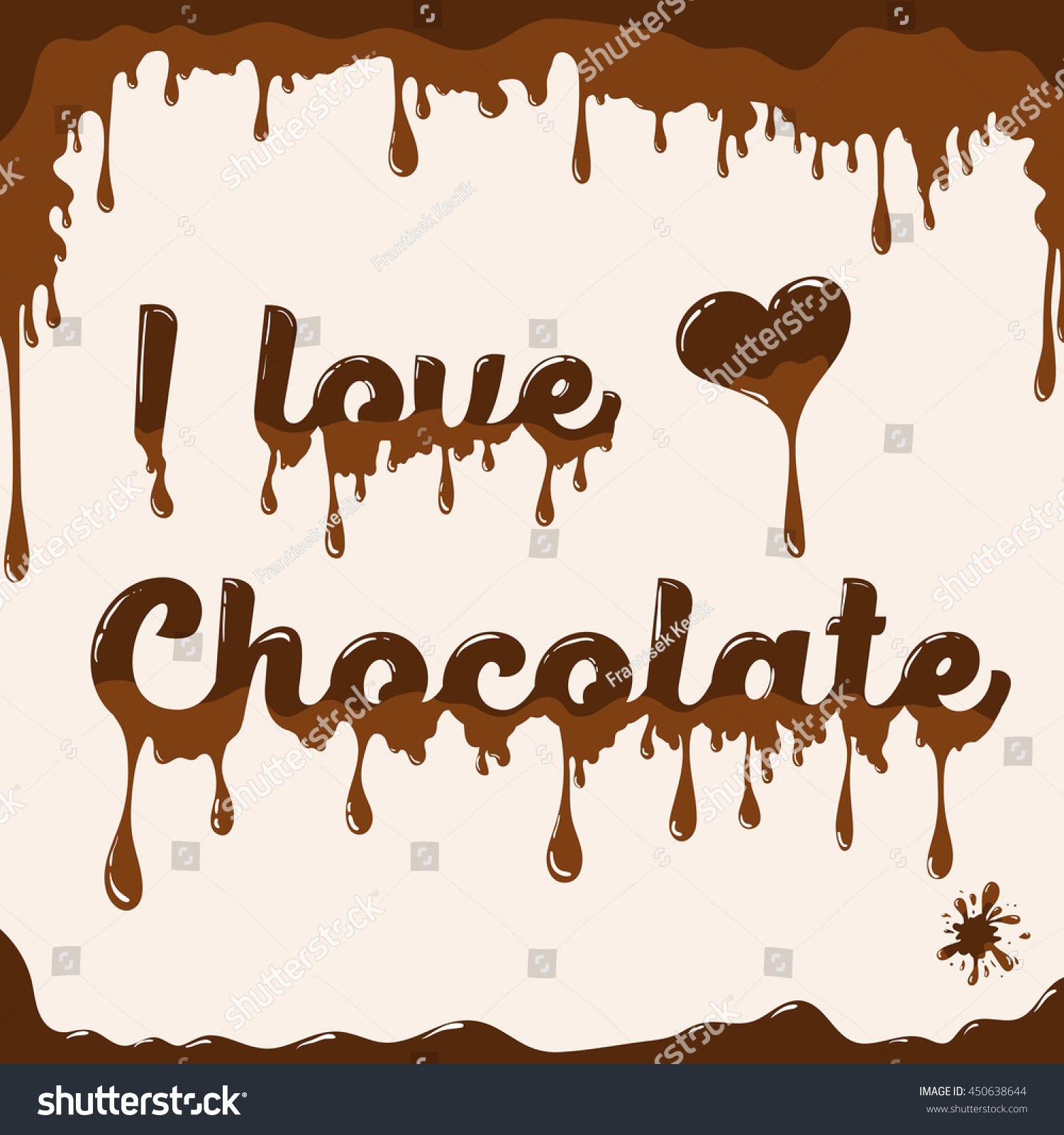 Love Chocolate Vector Template Melting Effect Stock Vector Royalty