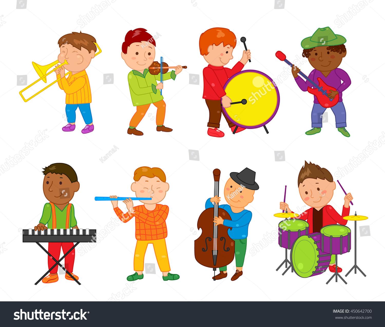 cartoon musician kids vector illustration children stock vector