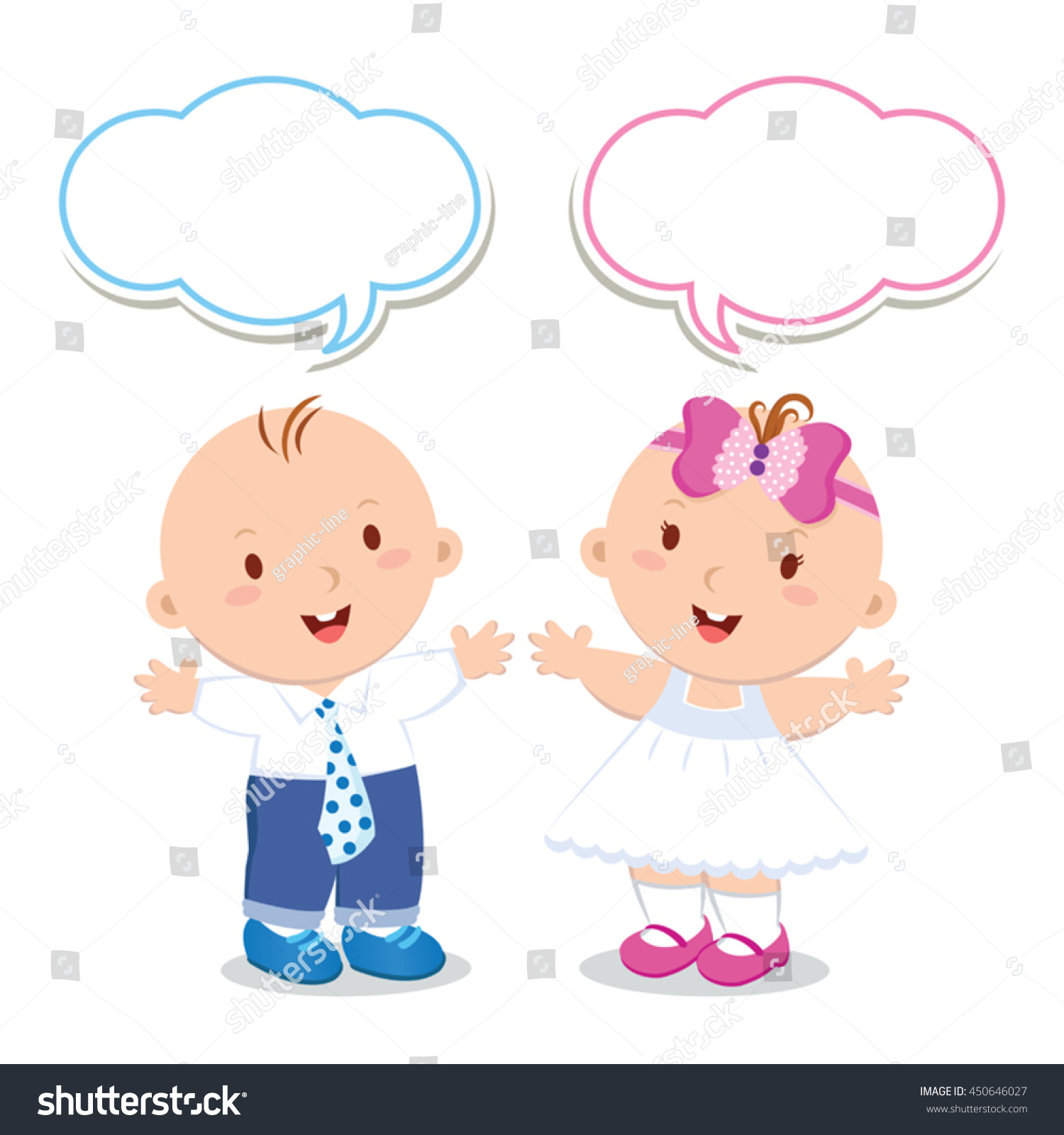 Twins Baby Boy Girl Vector Illustration Stock Vector
