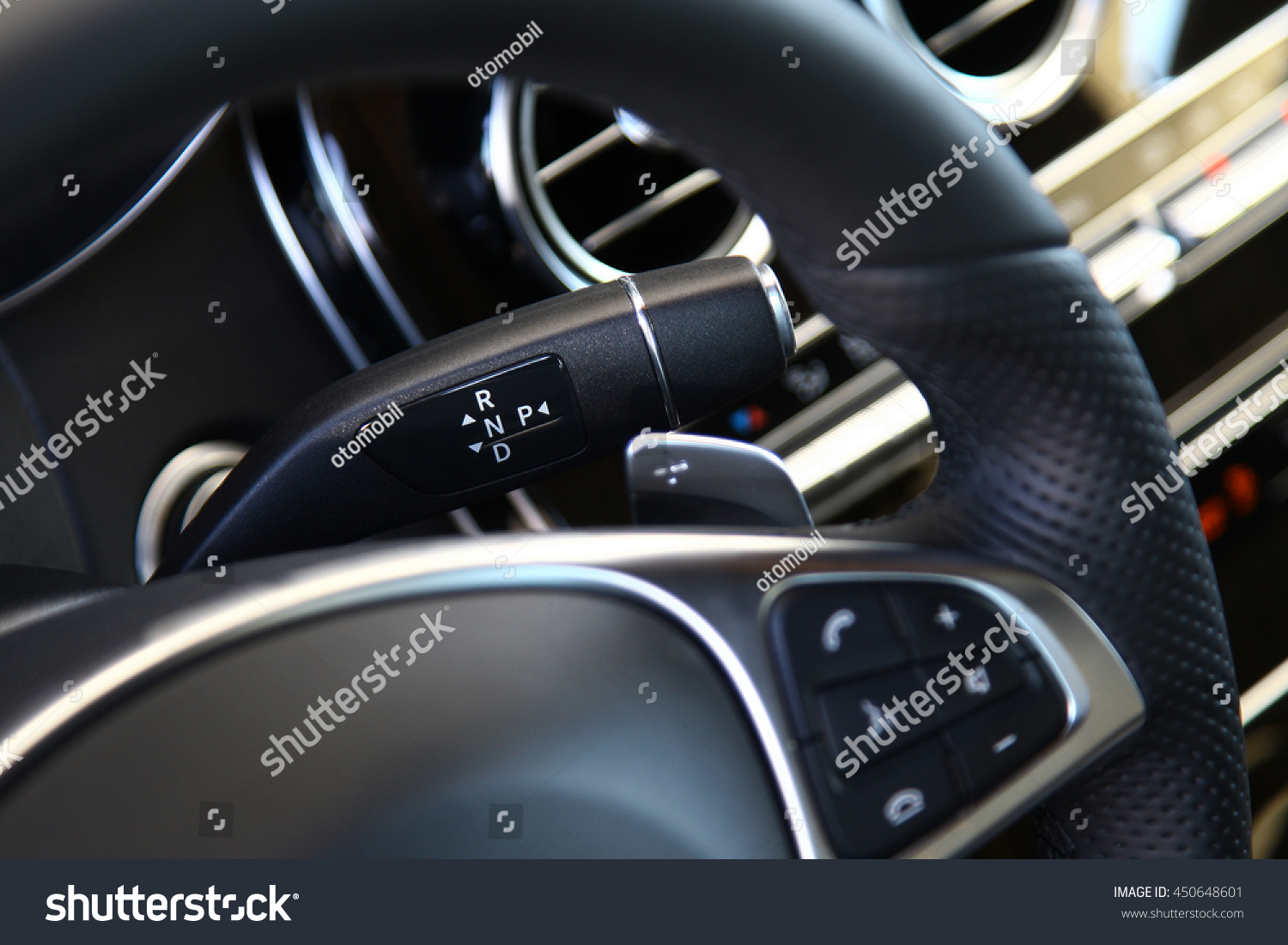 Behind The Steering Wheel : Gear lever behind the steering wheel stock photo