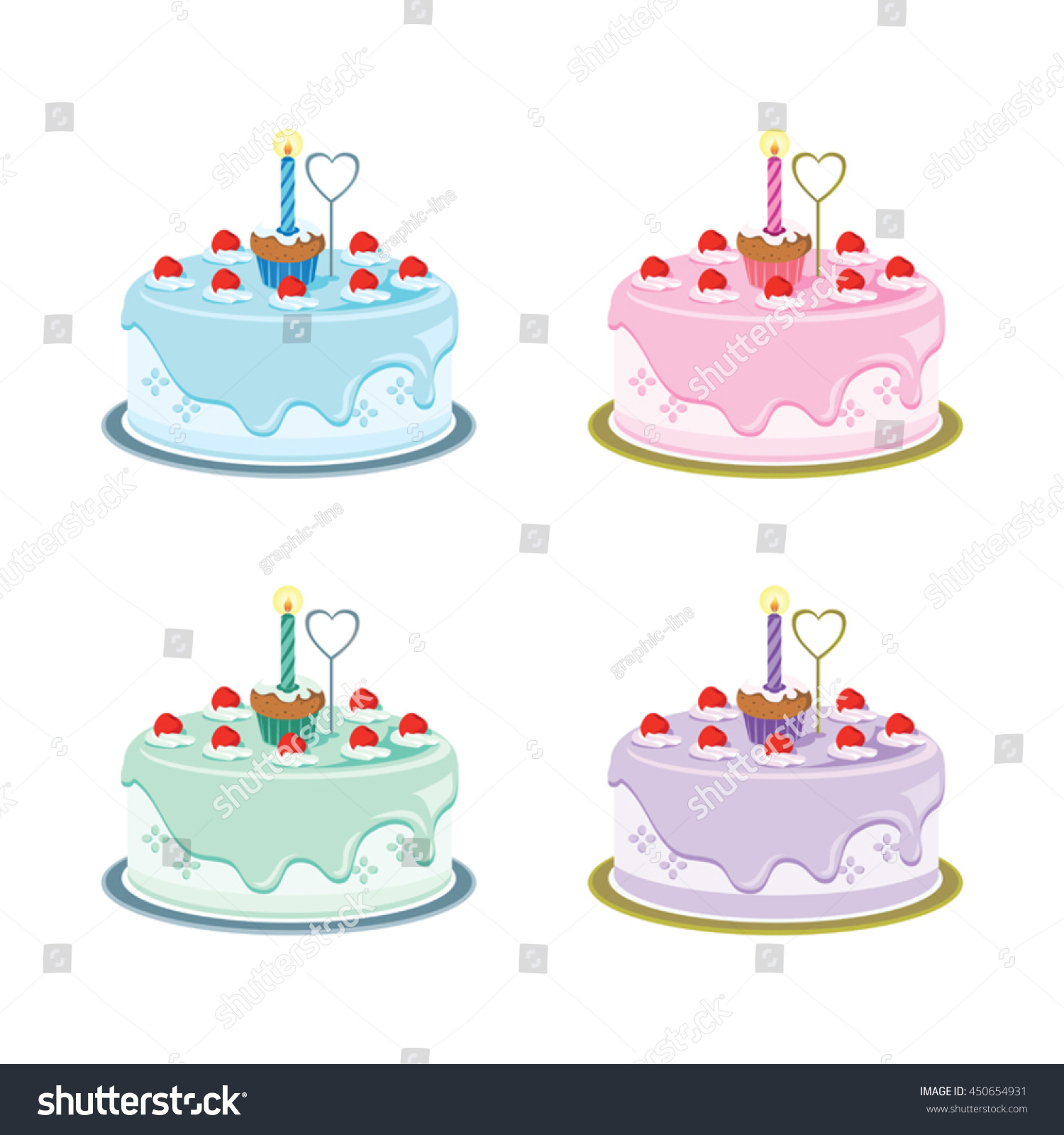 First Birthday Cakes Vector Illustration First Stock Vector