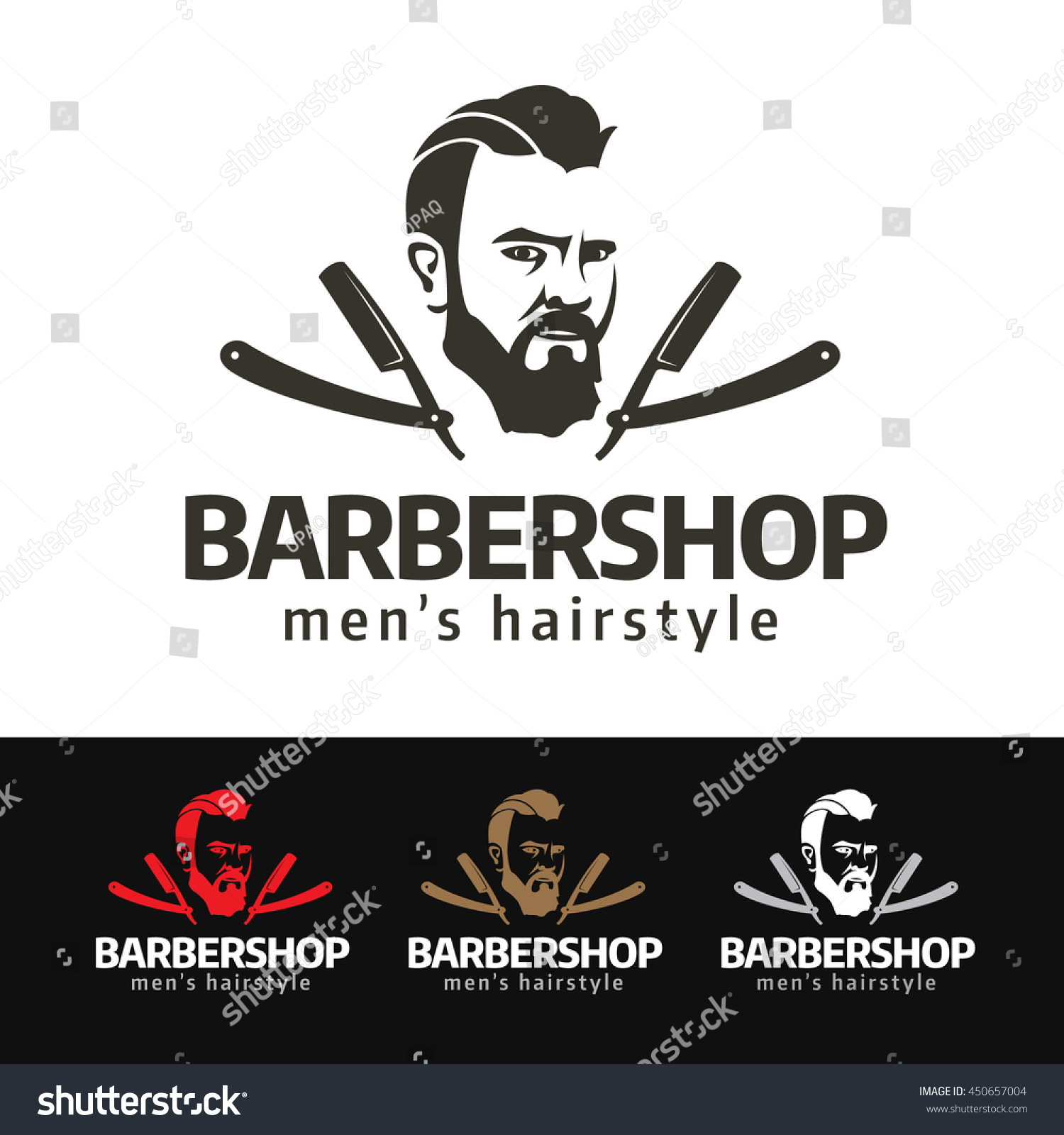 Logo of a fashion beard man with vintage razor blades this logo is suitable for