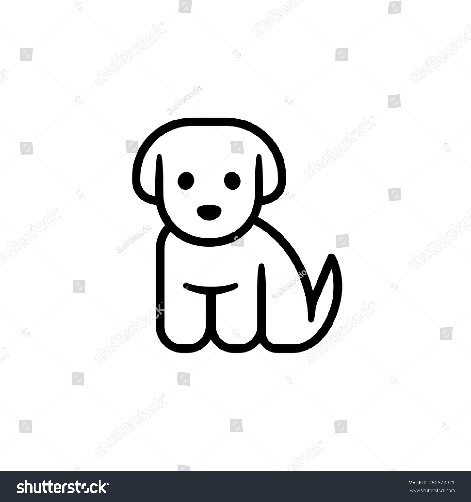 Little Puppy Icon Simple Cute Cartoon Stock Vector Royalty Free