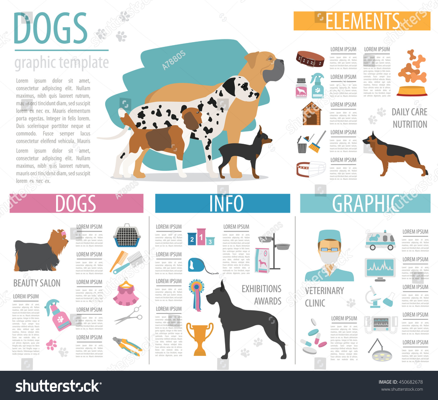 Dog Info Graphic Template Heatlh Care Stock Vector Royalty Free