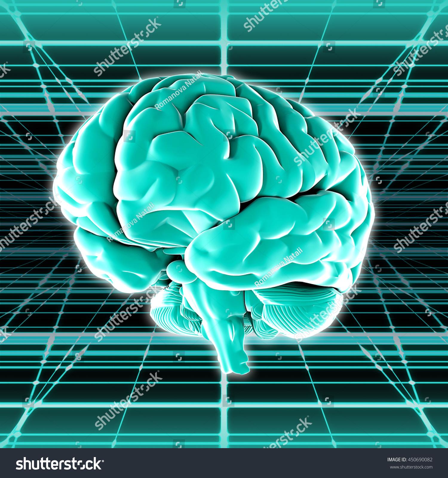 Virtual Surround Brain Image Digital Space 3 D Stock Illustration