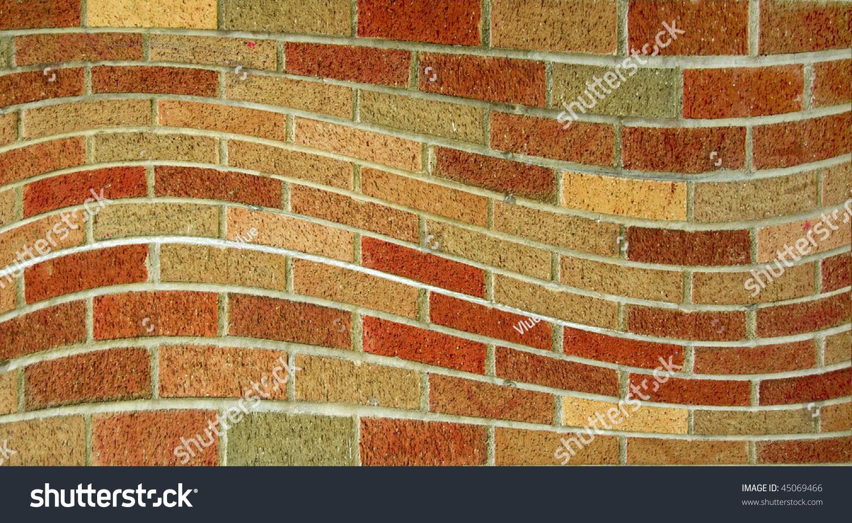 Wavy Brick Wall Pattern Background Texture Stock Photo