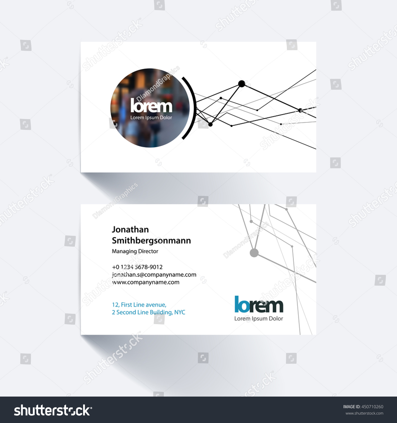 vector business card template grid mesh stock vector