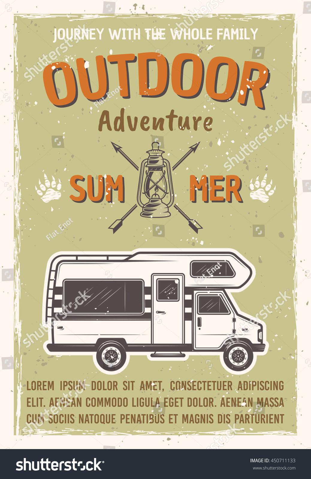 outdoor adventure travel on caravan bus stock vector 450711133