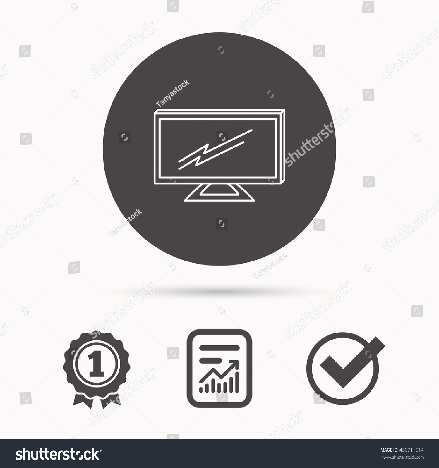 Lcd Tv Icon Led Monitor Sign Stock Vector 450711514 - Shutterstock