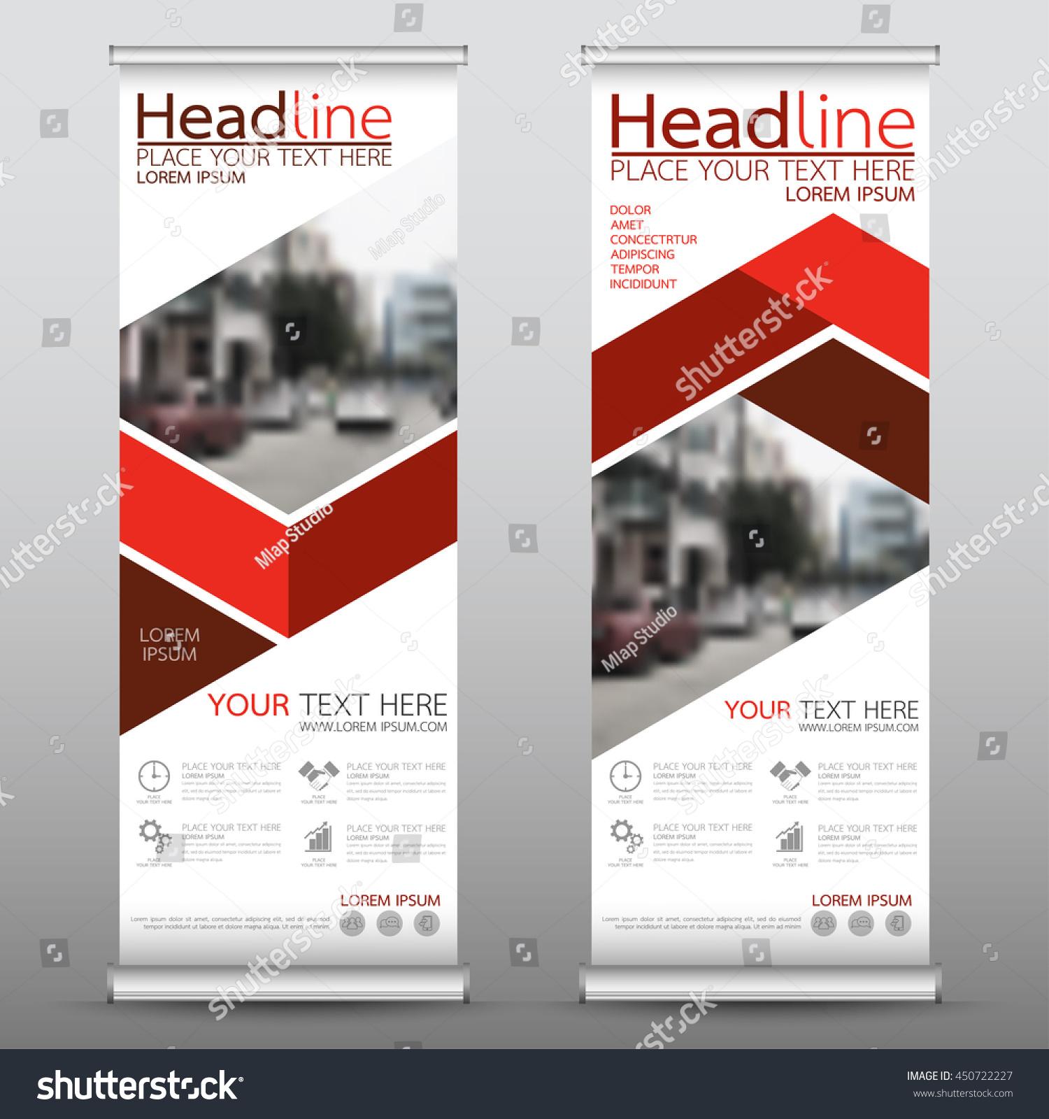 Red Roll Business Banner Design Vertical Stock Vektorgrafik
