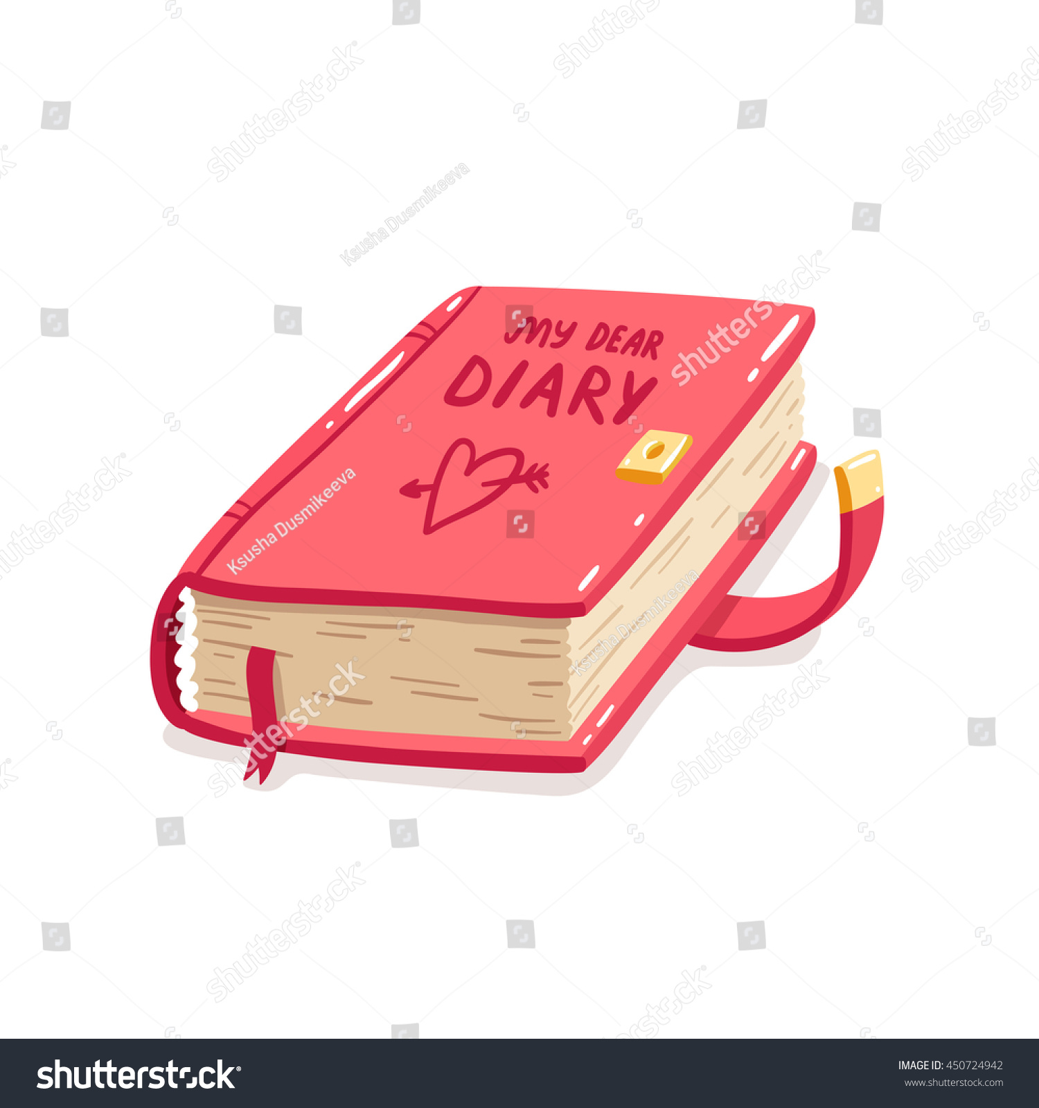 Cartoon Diary: My Dear Diary Cartoon Vector Illustration Stock Vector