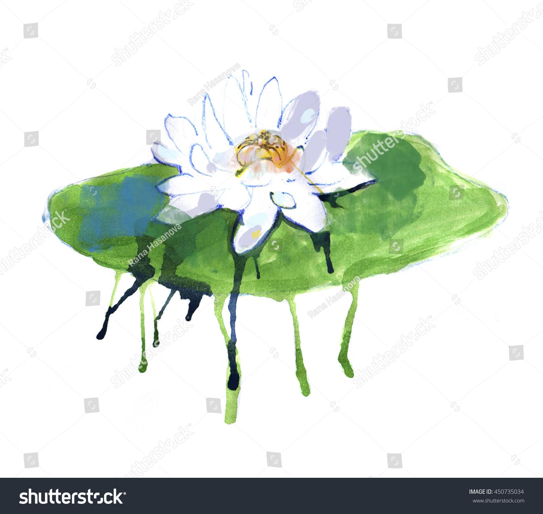Watercolor Lotus Flower On White Background Stock Illustration