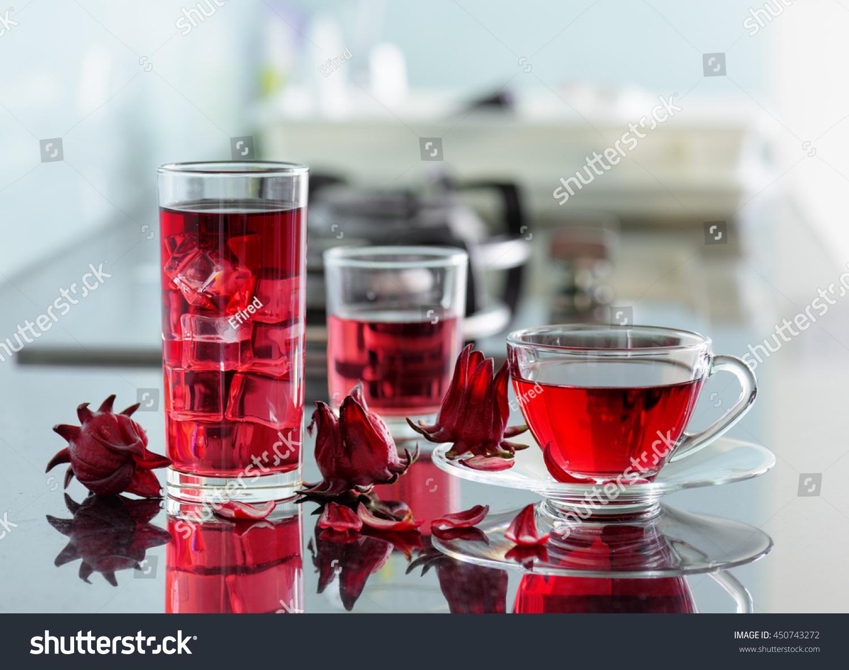 Cup Hot Hibiscus Tea Karkade Red Stock Photo Edit Now 450743272