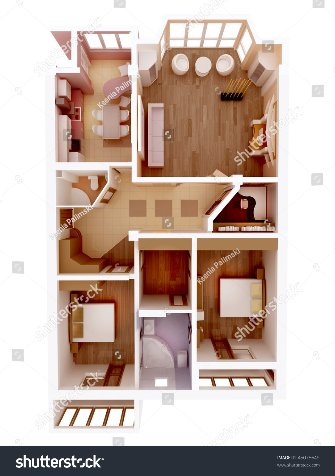 Plan View Apartment Clear 3d Interior Stock Illustration