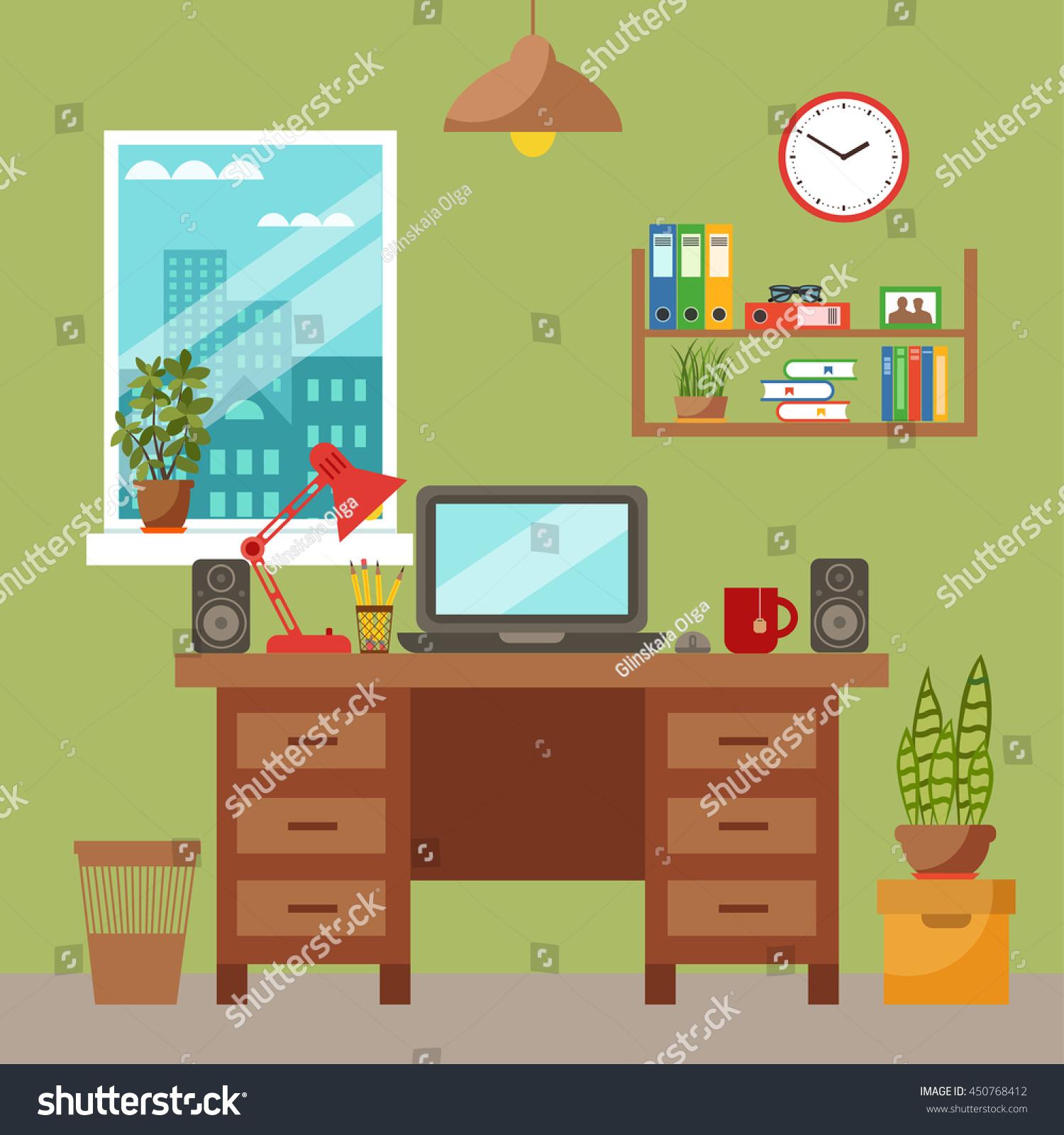 office desk work. Vector Colorful Office Desk With Indoor Plants. Work Interior Design Elements: Laptop, Y