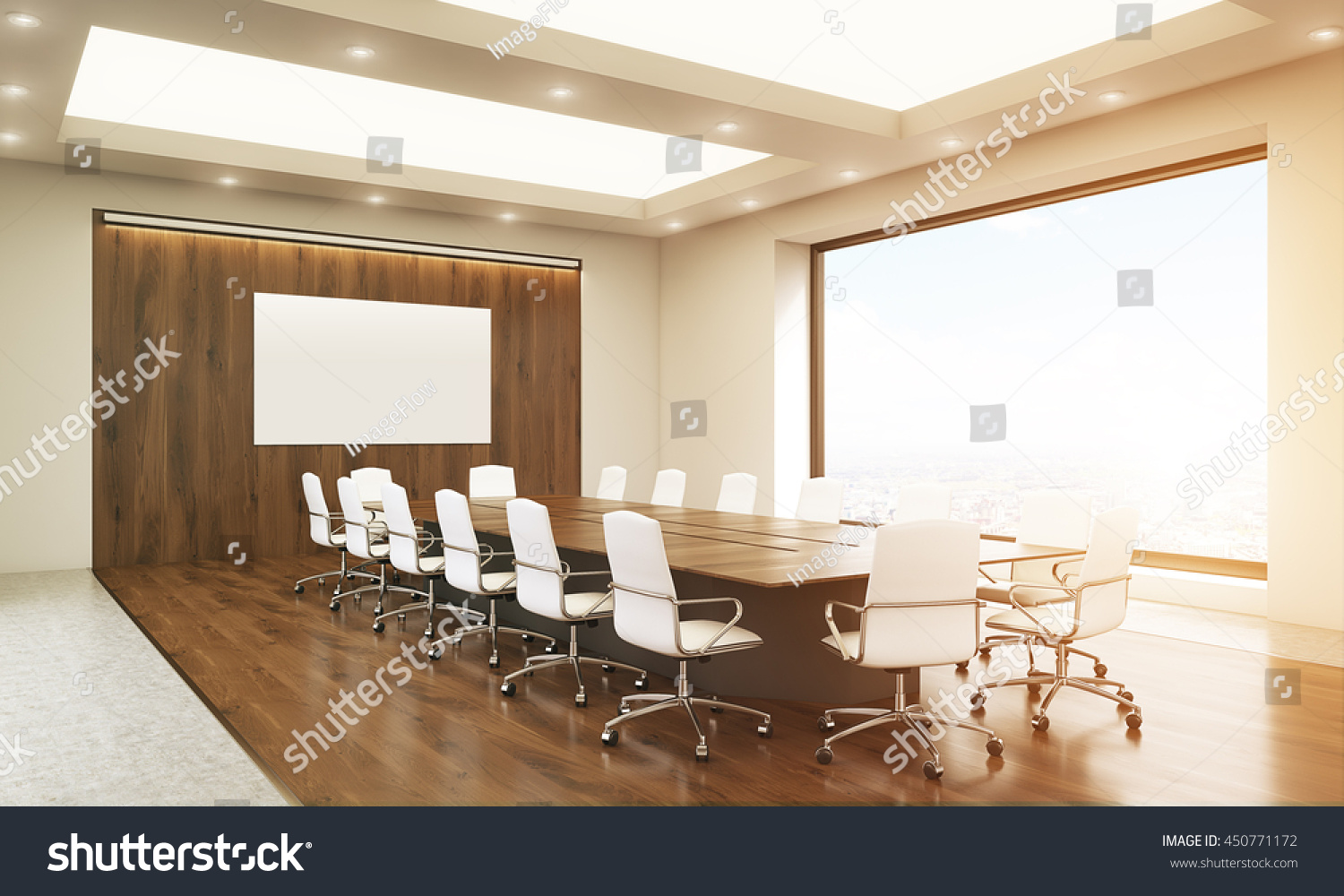 Side View Of Concrete And Wooden Conference Room Interior With Blank  Whiteboard, Table, Chairs